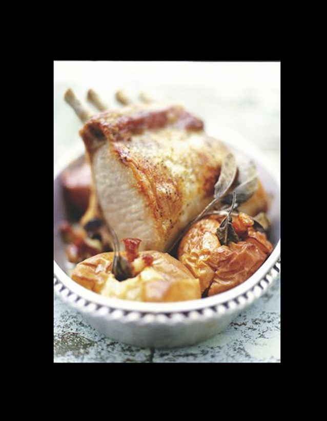 Carré de porc et pommes aux lardons