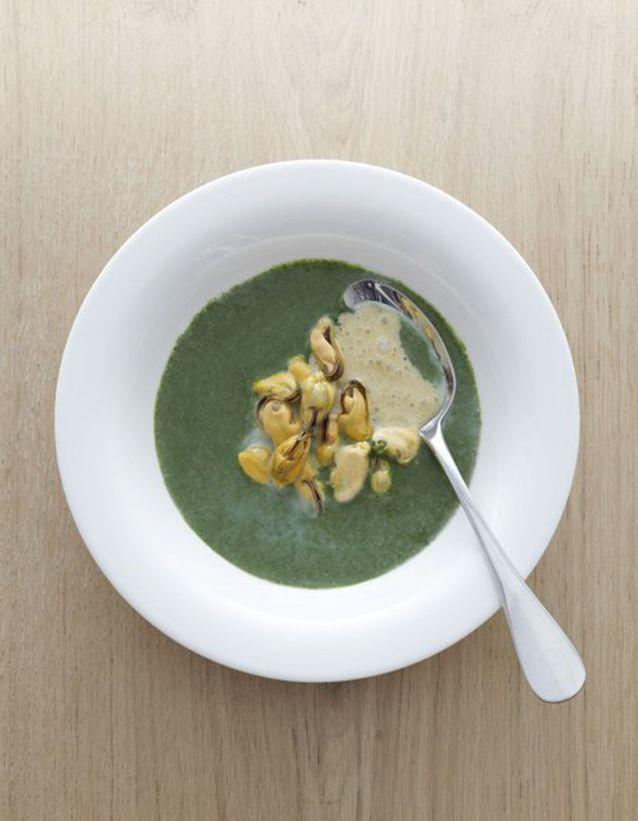 Soupe de cresson aux moules