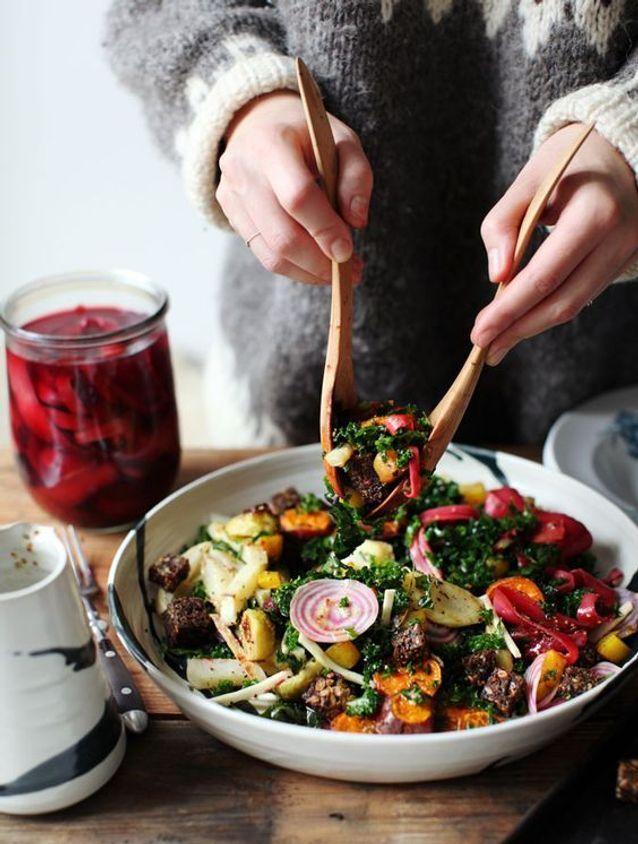 Assiette gourmande avec du kale