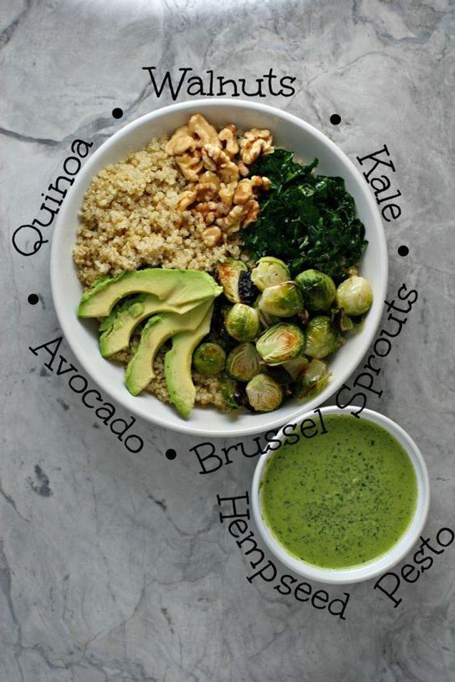 Assiette gourmande avec du quinoa