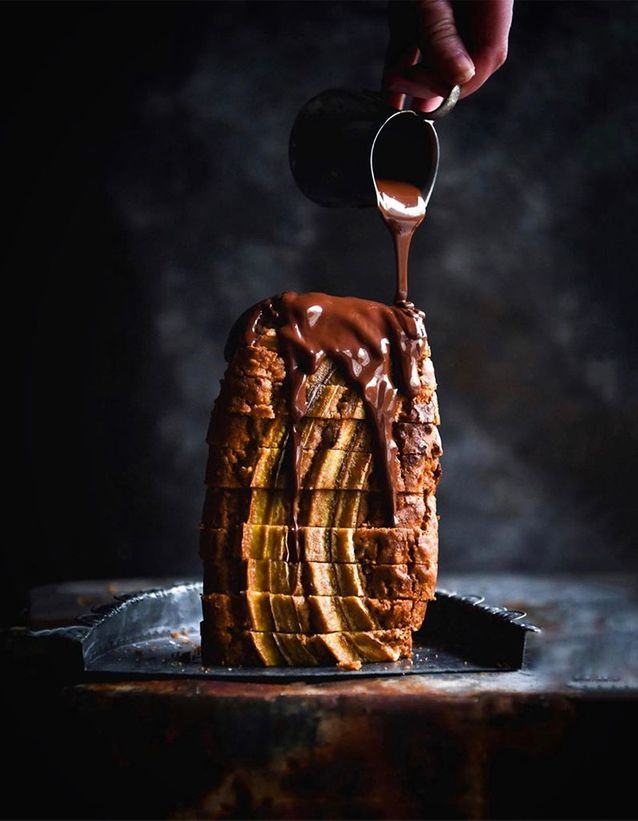 Banana bread sauce chocolat