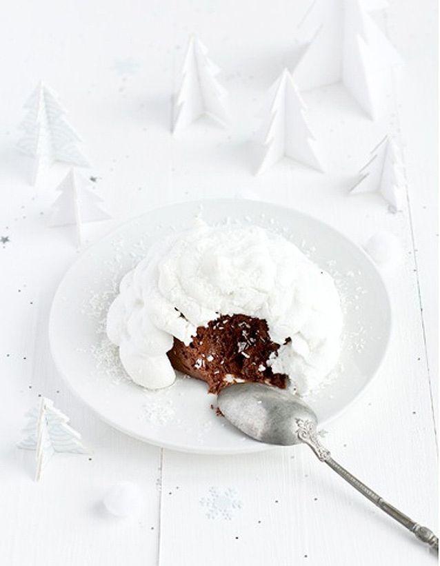 Igloos meringués à la mousse au chocolat