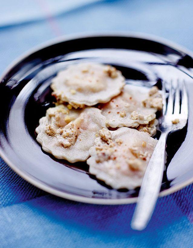 Raviolis de sarrasin et potiron, sauce aux noix
