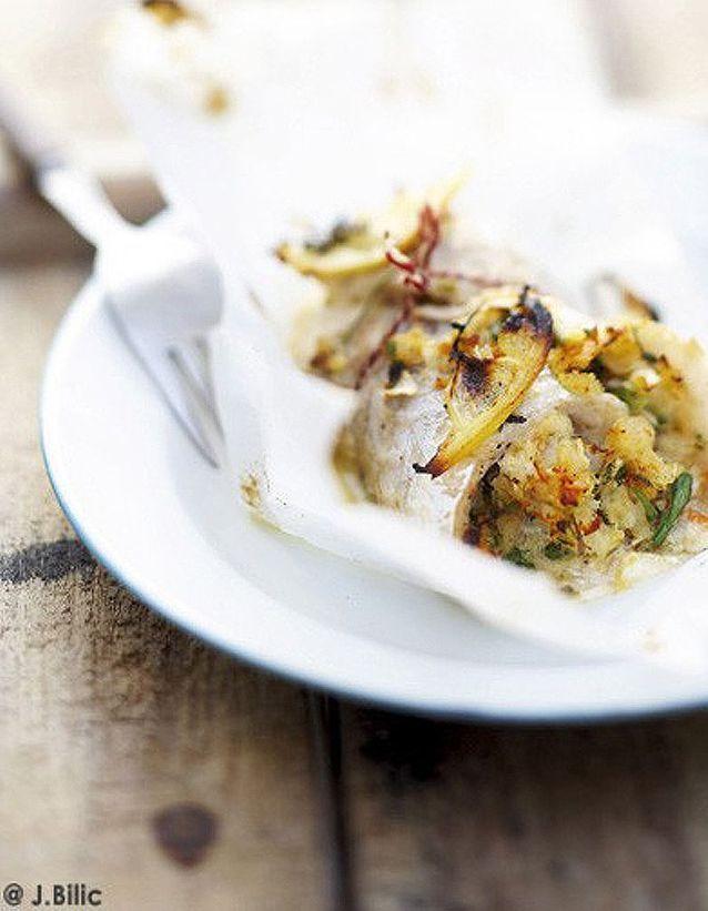 Filets de bar farcis aux crevettes