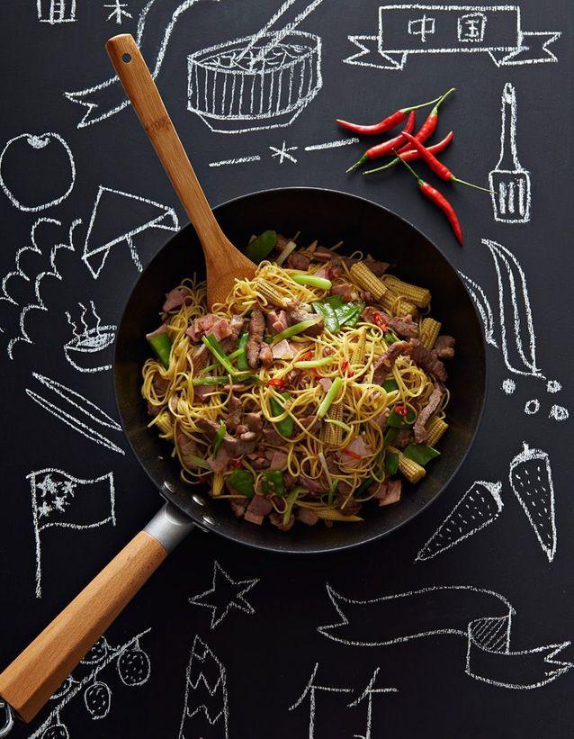 Nouilles chinoises sautées au porc et gingembre