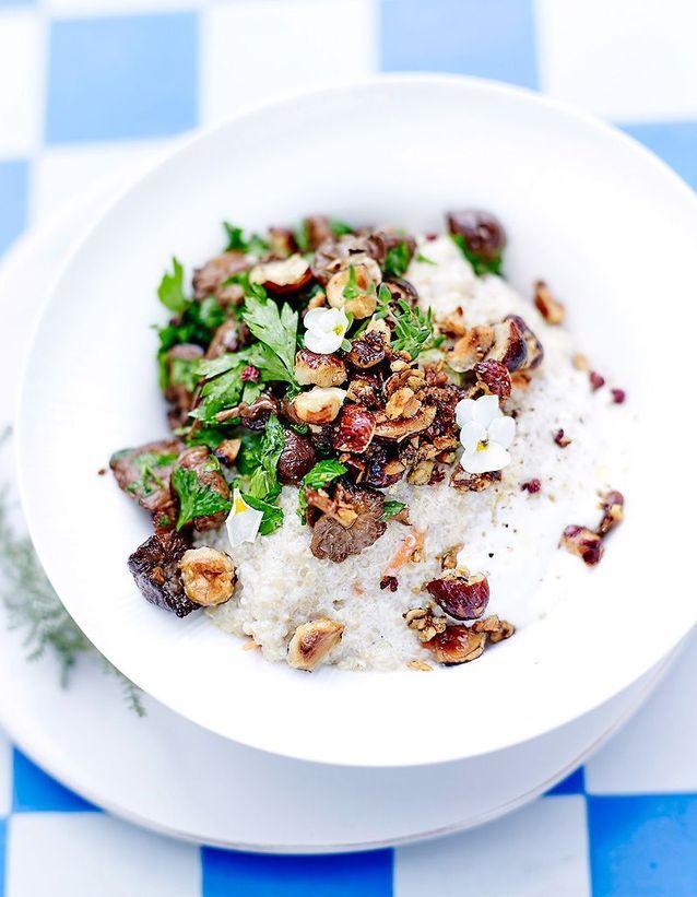 Risotto de quinoa, crème d'amande, mousserons et noisettes