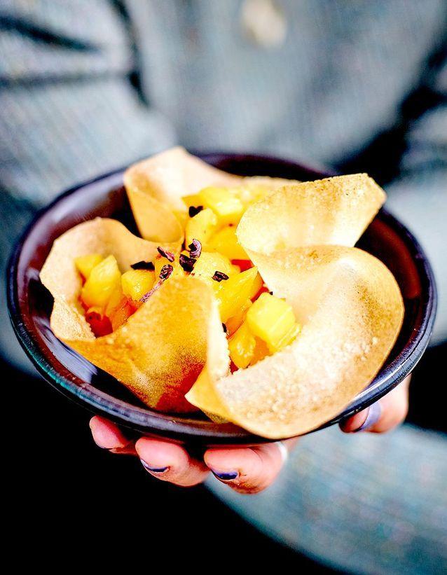 Corolles à l'ananas, glace chocolat au tofu