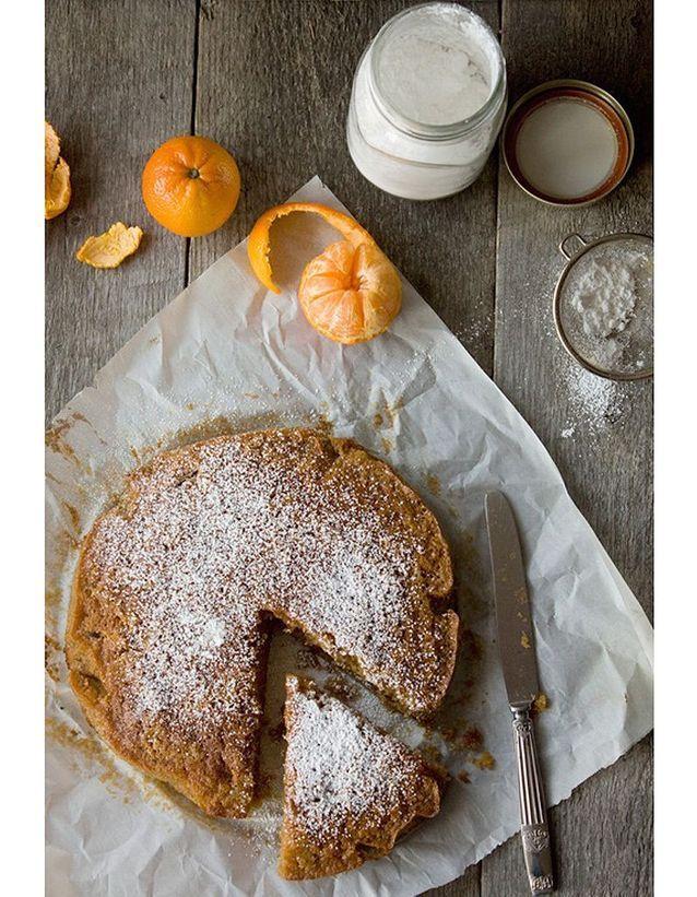 Gâteau à la farine de châtaigne et à la clémentine