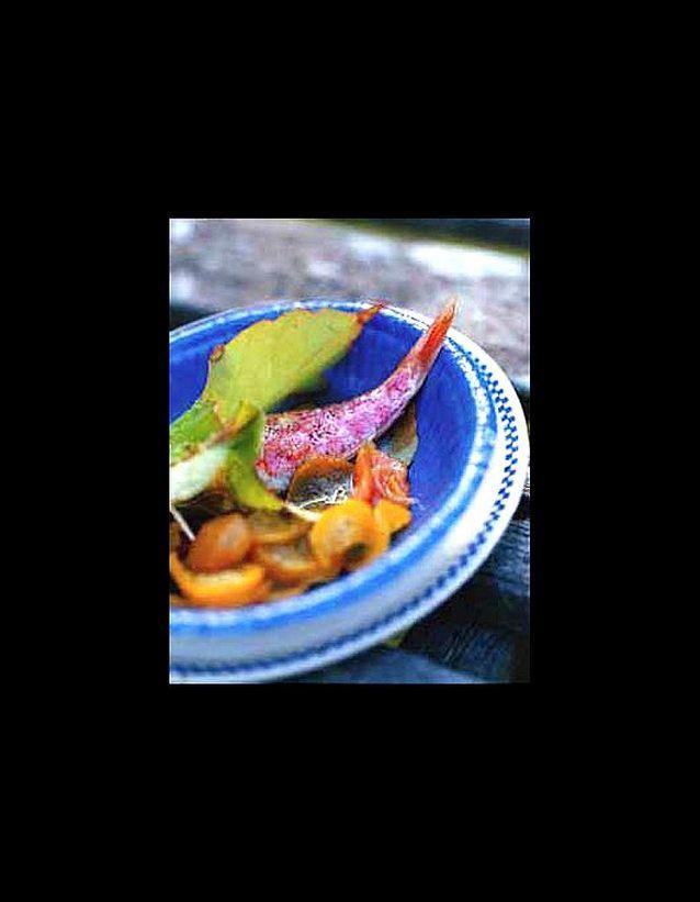 Rougets grilles chutney de courgettes jaunes et melon