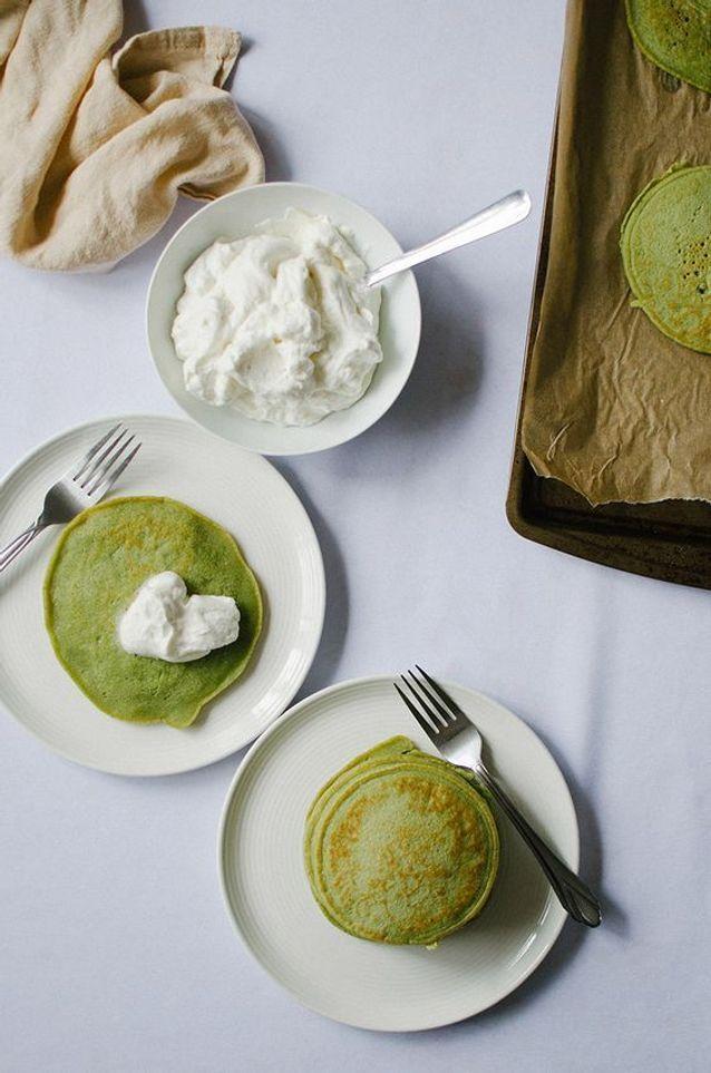 Des pancakes au thé matcha