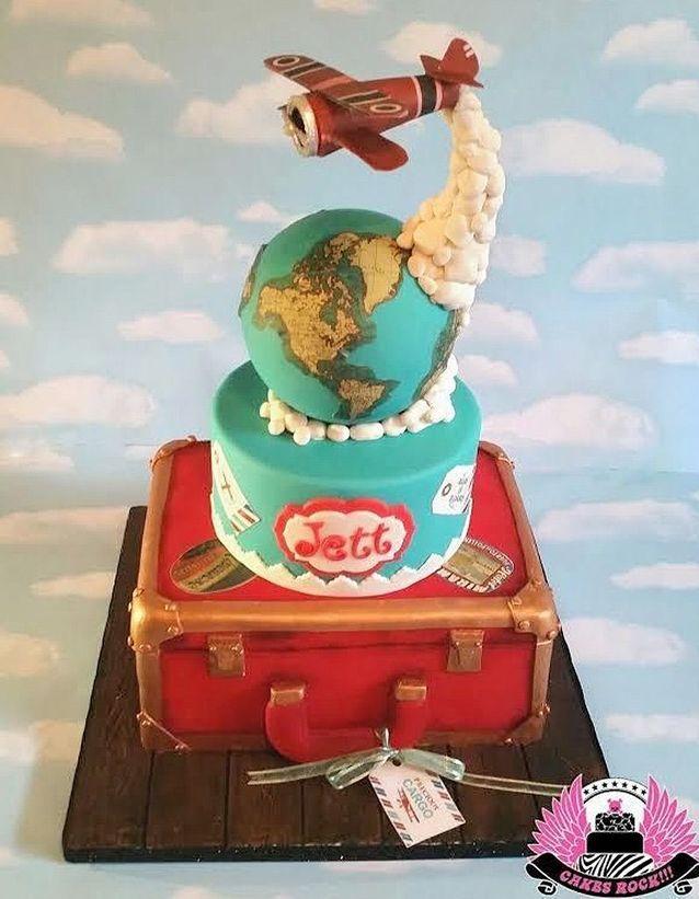 Gravity cake avion et globe terrestre