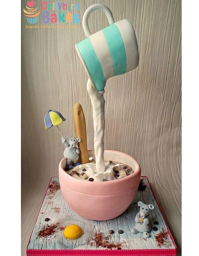 Gravity cake bol de céréales et pichet de lait
