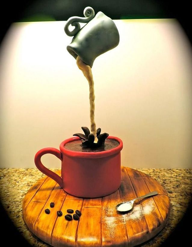 Gravity cake tasse de café et pot de lait