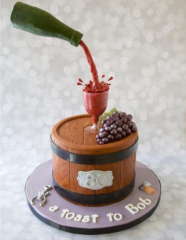 Gravity cake tonneau et bouteille de vin rouge