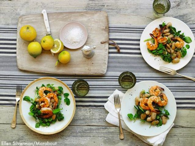Salade De Haricots Geants Marines Crevettes Grillees Cresson