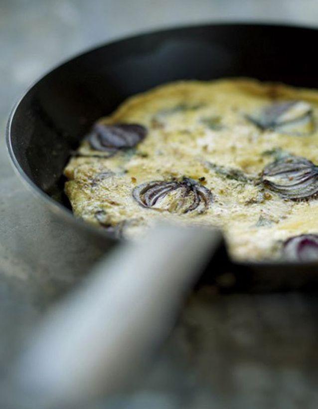 Tortilla oignon rouge et aneth