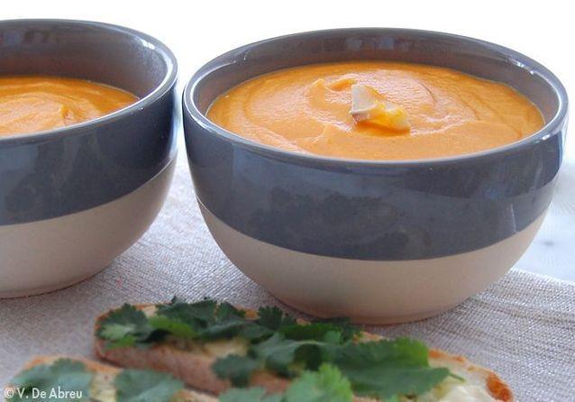 La soupe à l'esprit nordique, la soupe aux carottes, lait de coco-citronnelle et haddock