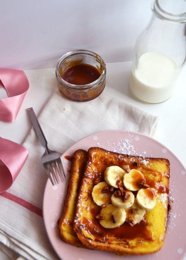 Pain perdu caramel banane pécan