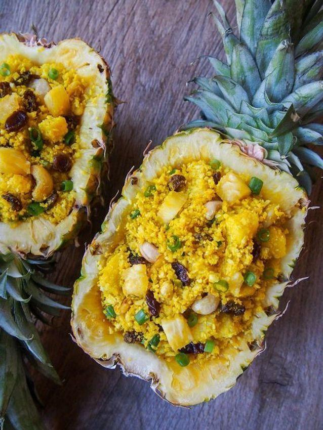 Pineapple boat « riz » de chou-fleur