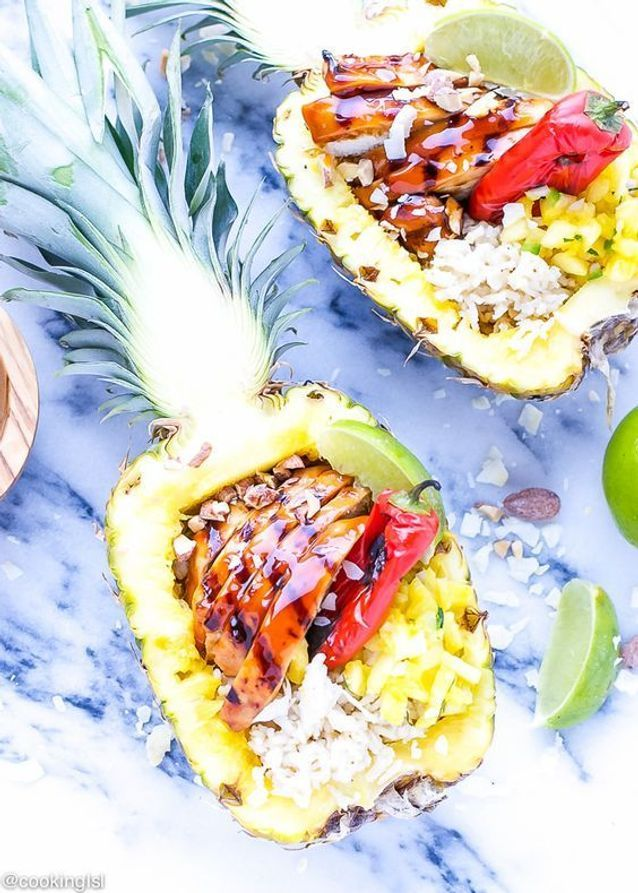 Pineapple boats poulet teriyaki