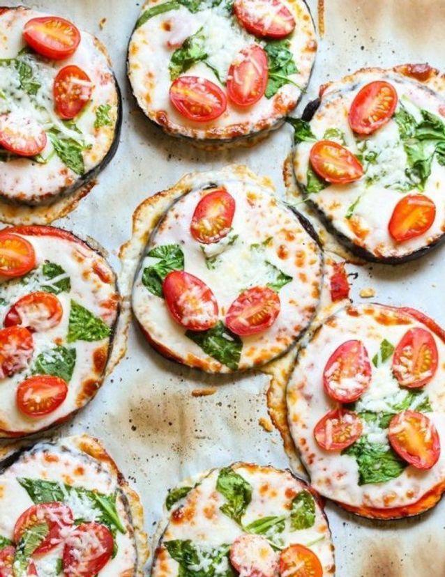 Pizza sans gluten aubergines