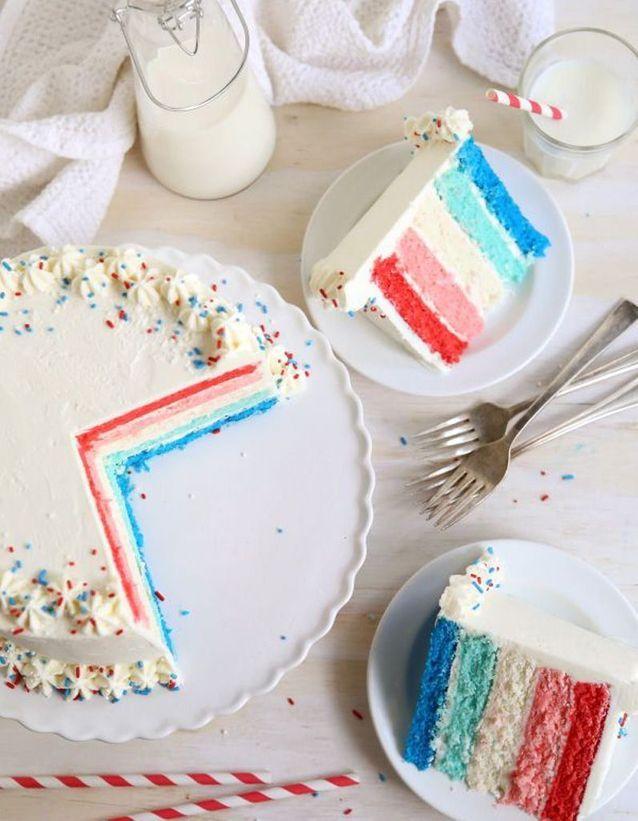 Rainbow cake bleu et rouge