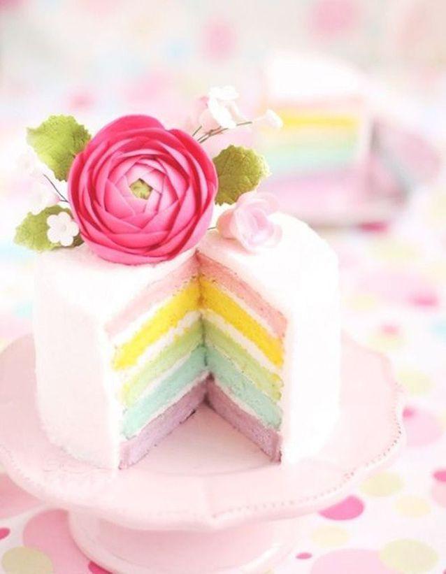 Rainbow cake pastel