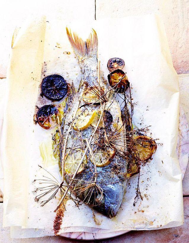 Daurade rôtie au citron et au fenouil