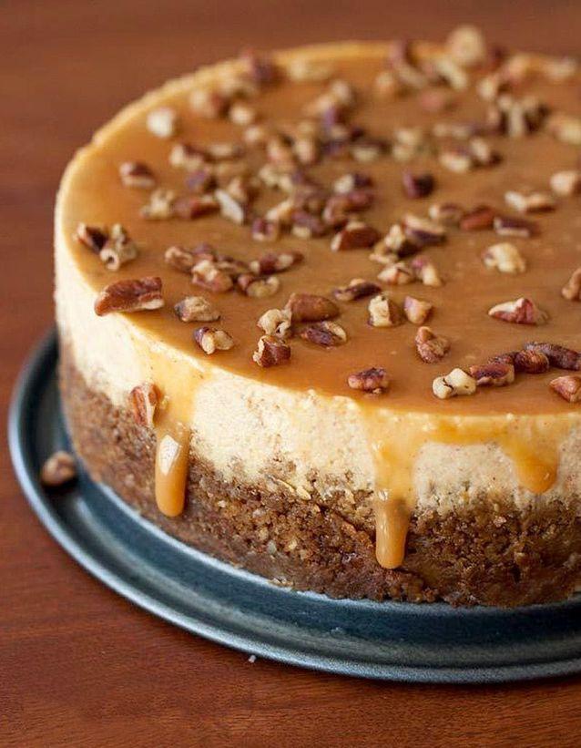 Cheesecake citrouille, noix de pécan, caramel