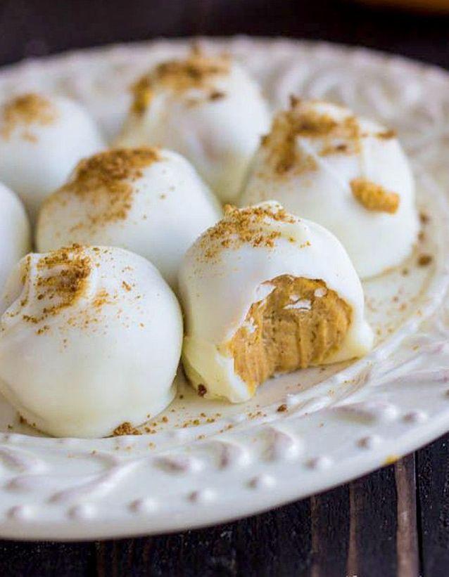 Truffes de citrouille au fromage frais et chocolat blanc