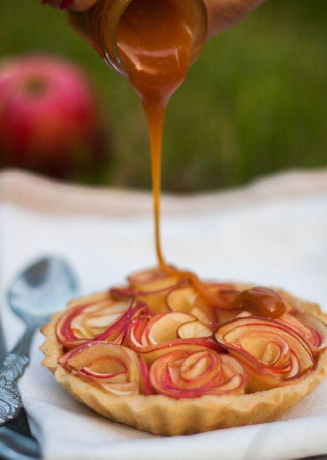 Rose de pomme au caramel