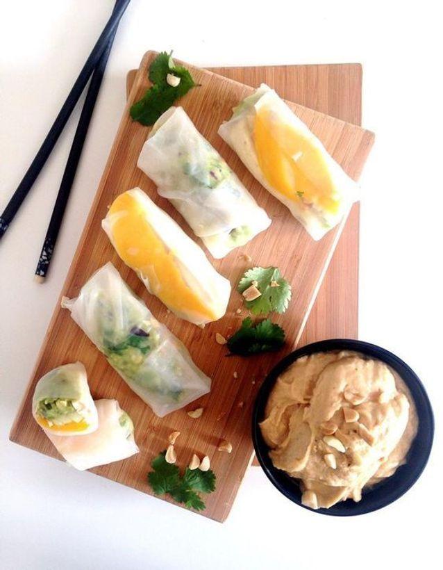 Rouleaux de printemps végétariens tofu et mangue