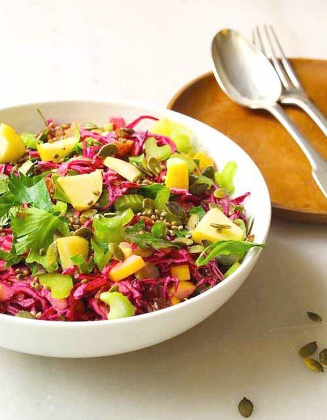 Salade d'hiver du potager au chou rouge