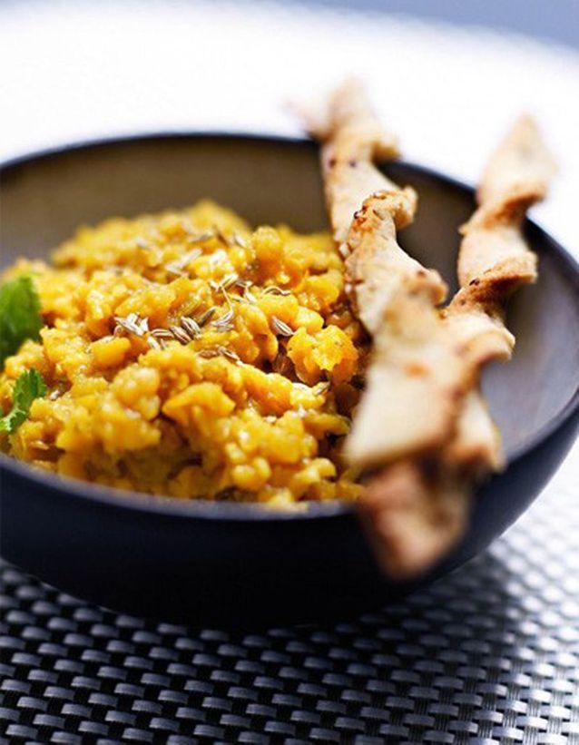 Lentilles corail aux épices et torsades au quinoa