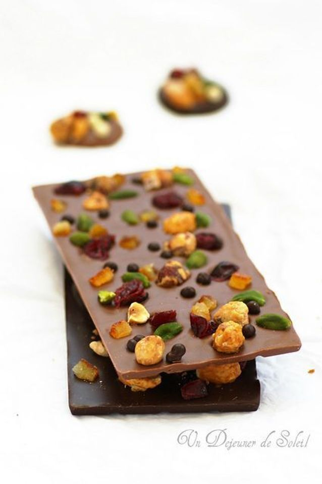 Tablette de chocolat maison mendiant