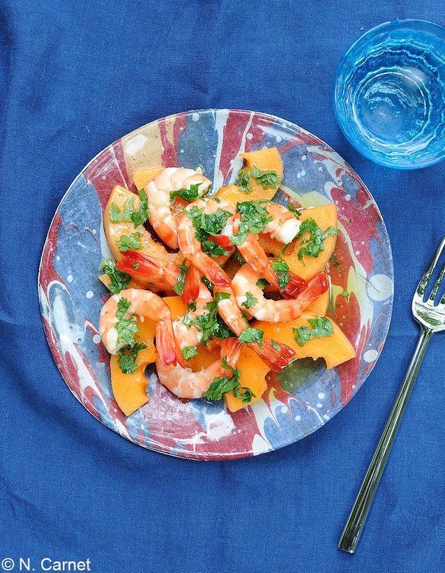 Salade de crevettes au melon