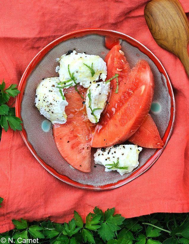 Salade ricotta-pastèque à la menthe