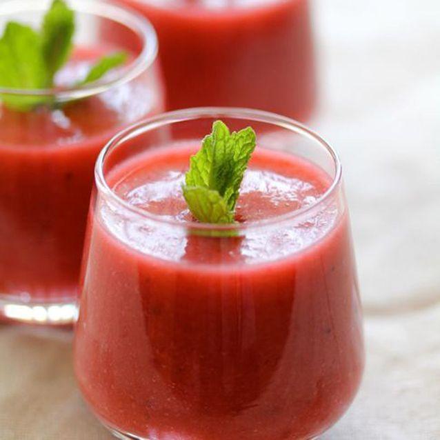 Gaspacho de fraises-framboises