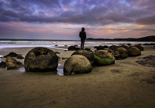 Les Moeraki Boulders, en Nouvelle-Zélande