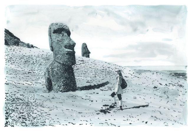 Travel Book Vuitton Ile de Paques  P 73 Easter Island, Rano Raraku Quarry
