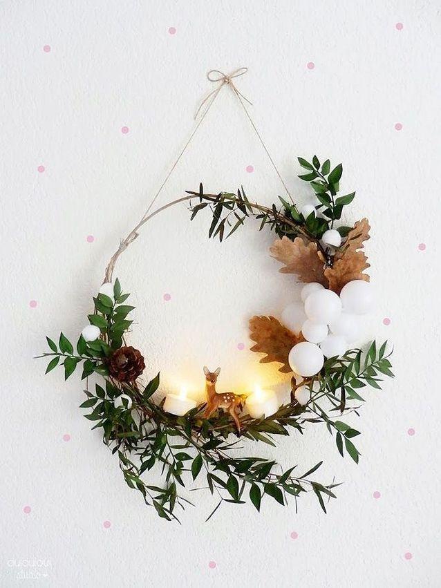Activité manuelle d'hiver couronne fleurie