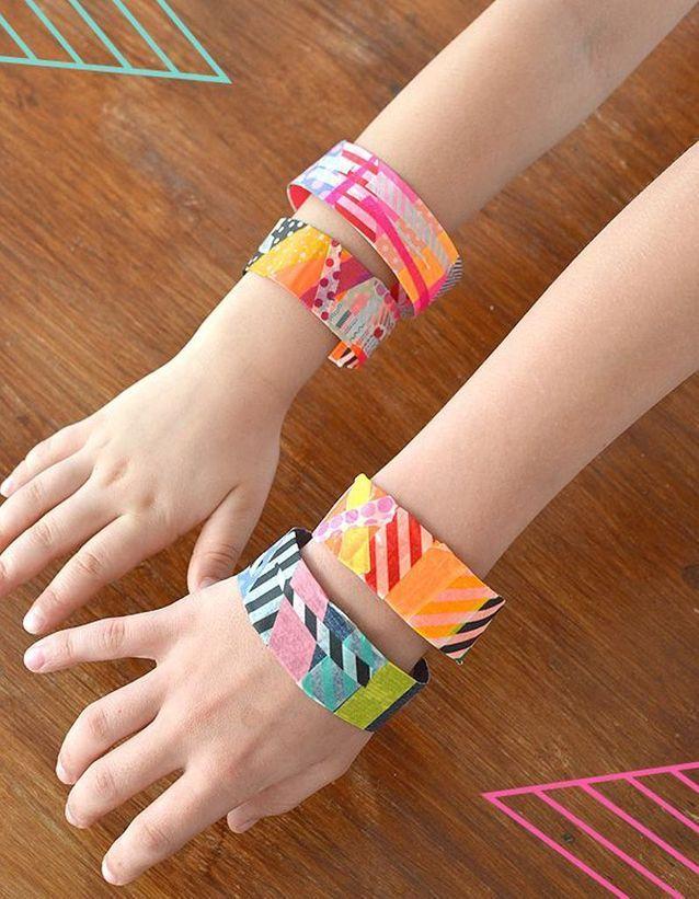 Masking tape bracelets