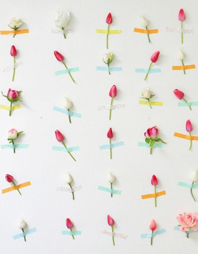 Masking tape mur floral