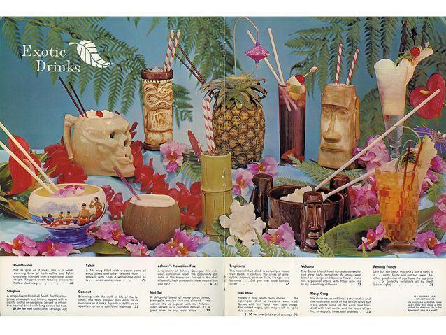 Carte de cocktails polynésiens et mugs des années 60
