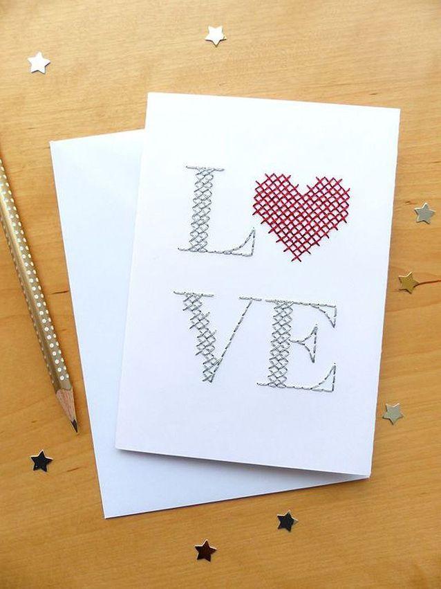 Carte Saint-Valentin à broder