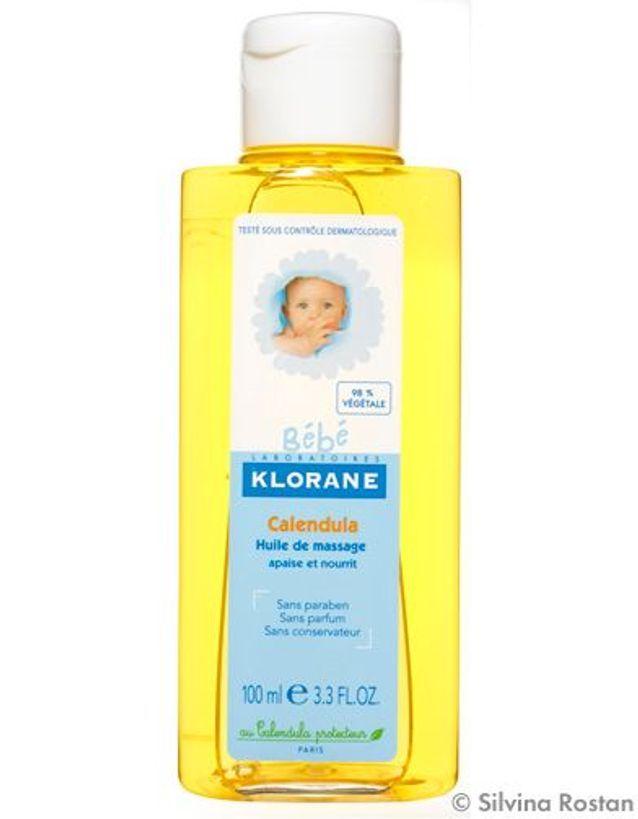 Une huile de massage Klorane spécial papouilles