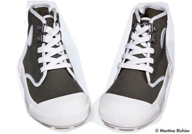 Chaussures montantes en toile de coton et cuir Aigle