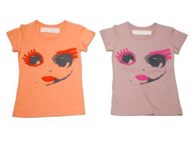 T-shirt imprimé visage en coton mauve ou orange, Maxe Lola