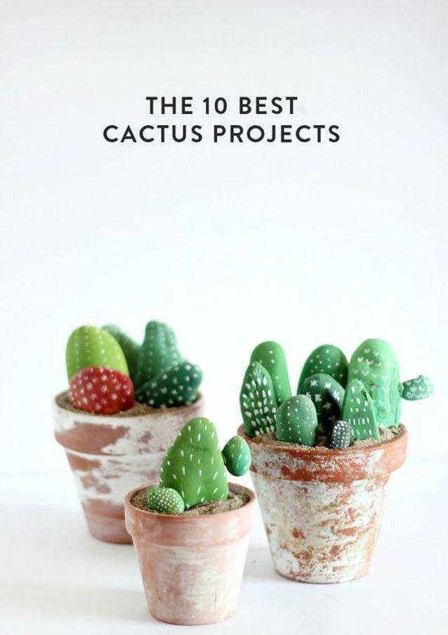 Bricolage fête des mères des cailloux cactus
