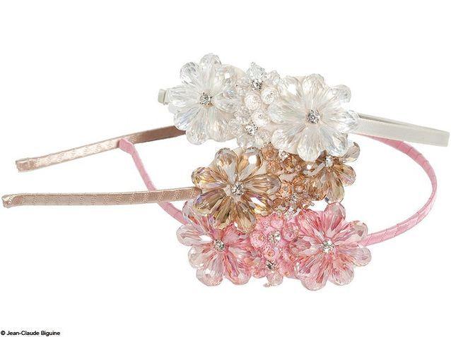Serre-tête à fleurs cristal